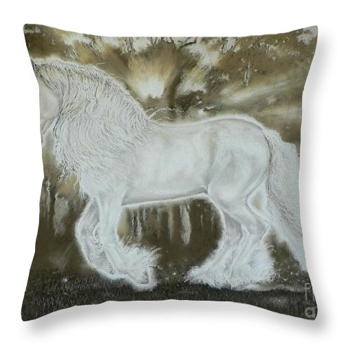 Gypsy Cob Throw Pillow featuring the pastel Gypsy Dreams by Louise Green