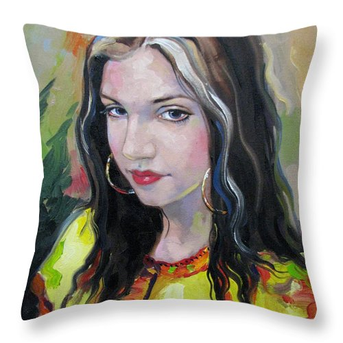 Gypsy Throw Pillow featuring the painting Gypsy Girl by Jerrold Carton