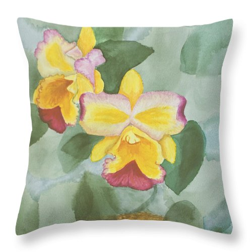 Orchids Throw Pillow featuring the painting Gypsy Orchids by Peggy King
