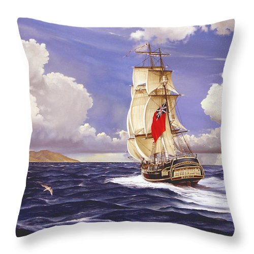 Marine Throw Pillow featuring the painting H. M. S. Bounty At Tahiti by Marc Stewart
