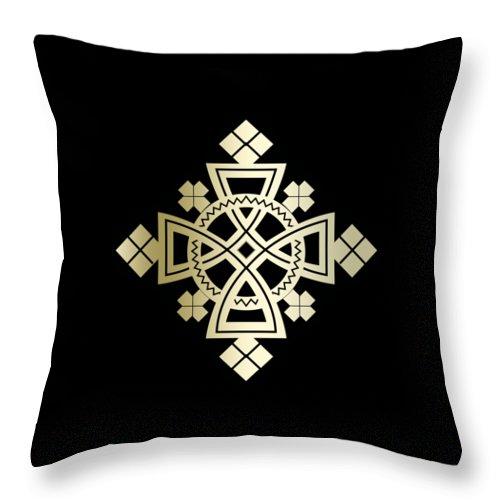 Habesha Throw Pillow featuring the digital art Habesha Holy Cross by Filmon Tesfatsion