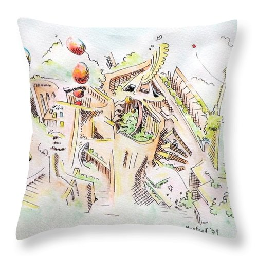 City Throw Pillow featuring the painting Habitat by Dave Martsolf