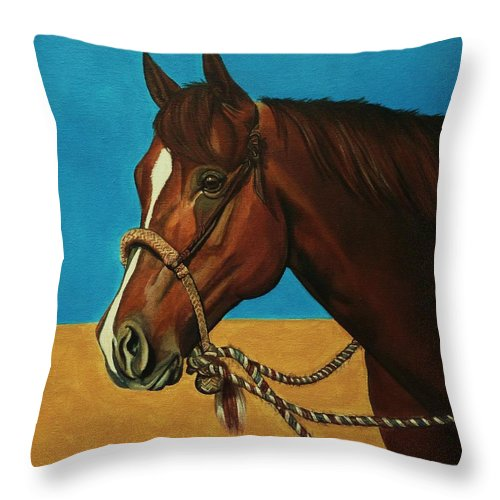 Horse Throw Pillow featuring the painting Hackamore Horse by Lucy Deane