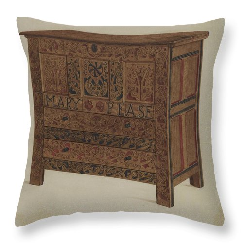 Throw Pillow featuring the drawing Hadley Chest by Lawrence Foster