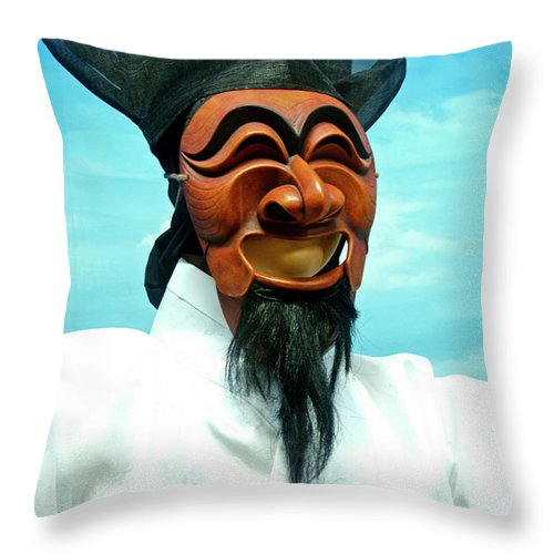 Asia Throw Pillow featuring the photograph Hahoe Mask by Michele Burgess