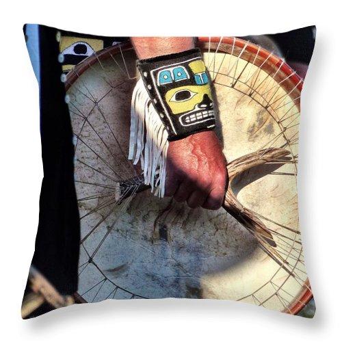 Haida Throw Pillow featuring the photograph Haida Drum by Rand