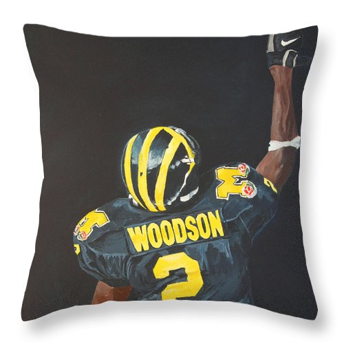 Heisman Throw Pillow featuring the painting Hail Yes by Travis Day