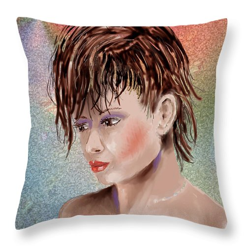 Girl Throw Pillow featuring the digital art Hairstyle Of Colors by Arline Wagner