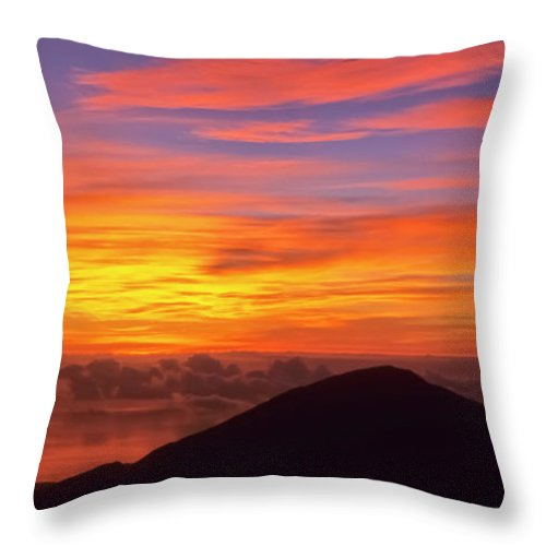 Nature Throw Pillow featuring the photograph Haleakala Sunrise Colors IIi by Jim Cazel