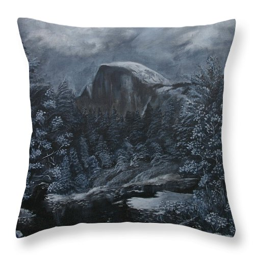 Yosemite Throw Pillow featuring the painting Half Dome Black And White by Travis Day