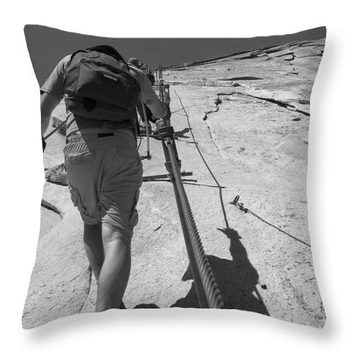 Half Dome Throw Pillow featuring the photograph Half Dome Cables by Travis Day