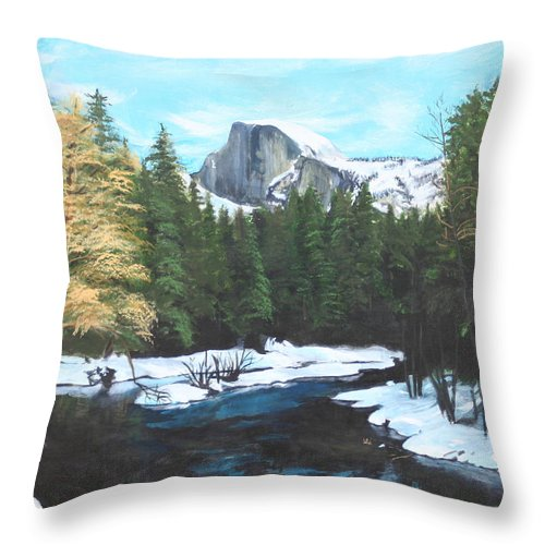 Lkandscape Throw Pillow featuring the painting Half Dome Snow by Travis Day