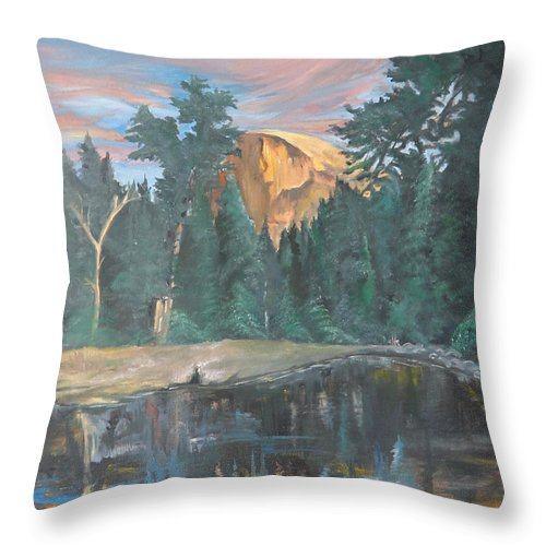 Sunset Throw Pillow featuring the painting Half Dome Sunset by Travis Day