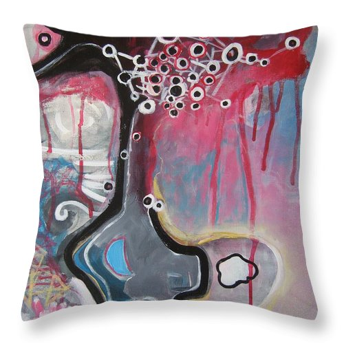 Abstract Paintings Throw Pillow featuring the painting Half Moon On Vase by Seon-Jeong Kim