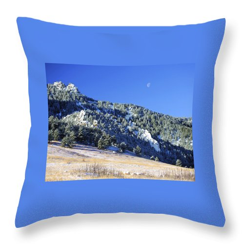 Nature Throw Pillow featuring the photograph Half Moon Over The Flatirons by Marilyn Hunt