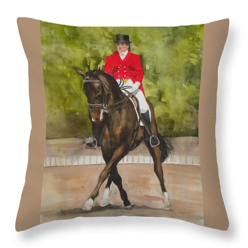 Horse Throw Pillow featuring the painting Half-pass To The Right by Jean Blackmer