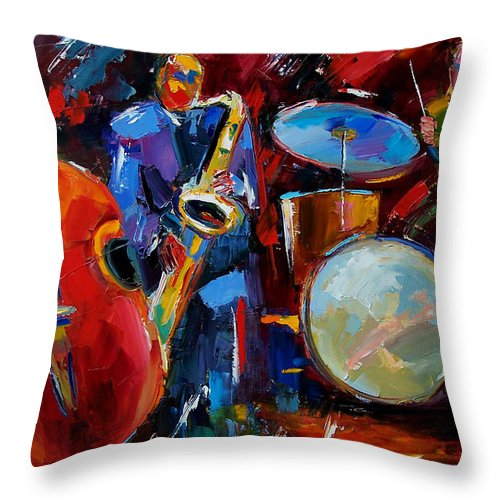 Music Throw Pillow featuring the painting Half the Band by Debra Hurd