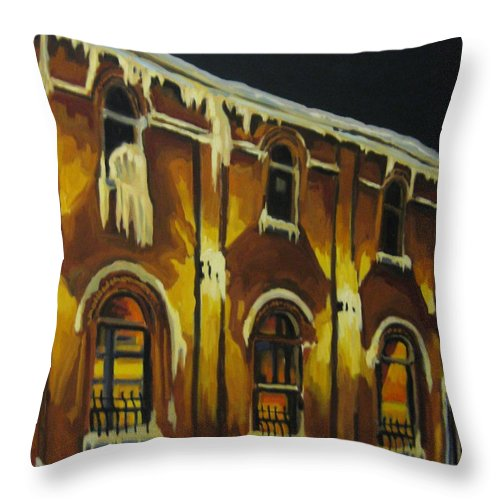 Urban Landscapes Throw Pillow featuring the painting Halifax Ale House In Ice by John Malone