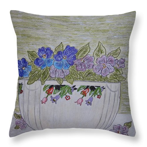 Hall China Throw Pillow featuring the painting Hall China Crocus Bowl With Violets by Kathy Marrs Chandler