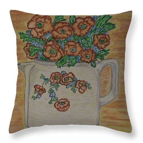 Hall China Throw Pillow featuring the painting Hall China Orange Poppy And Poppies by Kathy Marrs Chandler