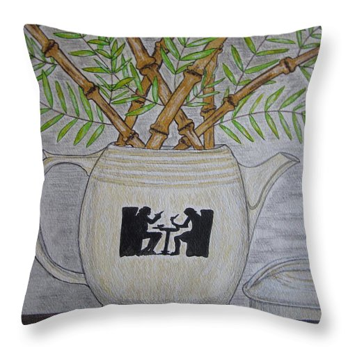 Hall China Throw Pillow featuring the painting Hall China Silhouette Pitcher With Bamboo by Kathy Marrs Chandler