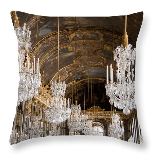 Versailles Throw Pillow featuring the photograph Hall Of Mirrors Palace Of Versailles France by Jon Berghoff