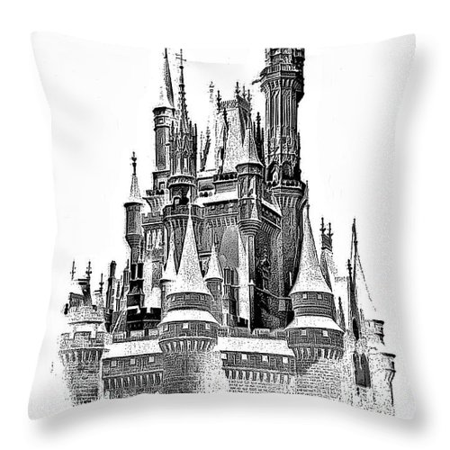Castle Throw Pillow featuring the photograph Hall Of The Snow King Monochrome by Steve Harrington