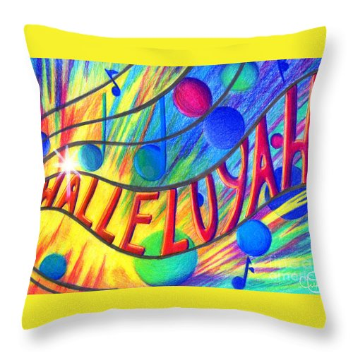 Christian Art Throw Pillow featuring the painting Halleluyah by Nancy Cupp
