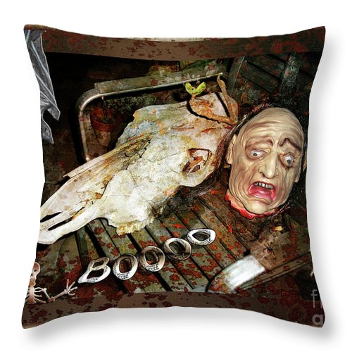 Halloween Throw Pillow featuring the digital art Hallo Boooo by Gabriele Pomykaj