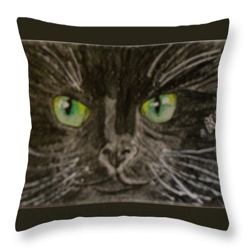 Halloween Throw Pillow featuring the painting Halloween Black Cat I by Kathy Marrs Chandler