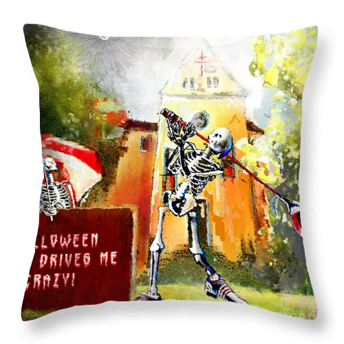 Fun Throw Pillow featuring the painting Halloween Drives Me Crazy by Miki De Goodaboom