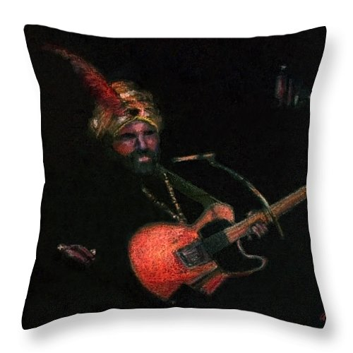 Guitar Throw Pillow featuring the pastel Halloween Gig by Arline Wagner