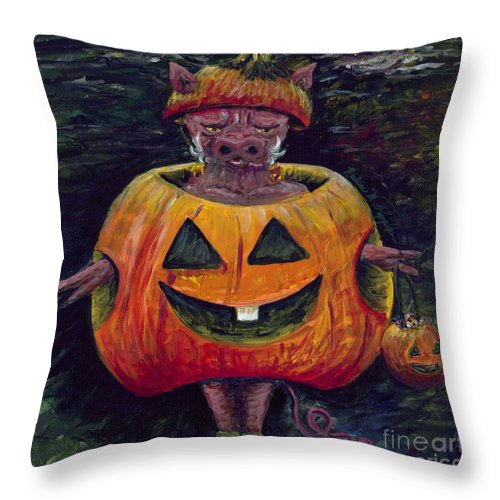 Halloween Throw Pillow featuring the painting Halloween Hog by Nadine Rippelmeyer