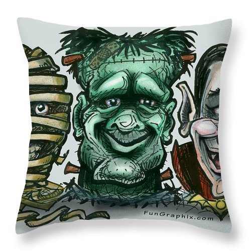 Halloween Throw Pillow featuring the greeting card Halloween Monsters by Kevin Middleton