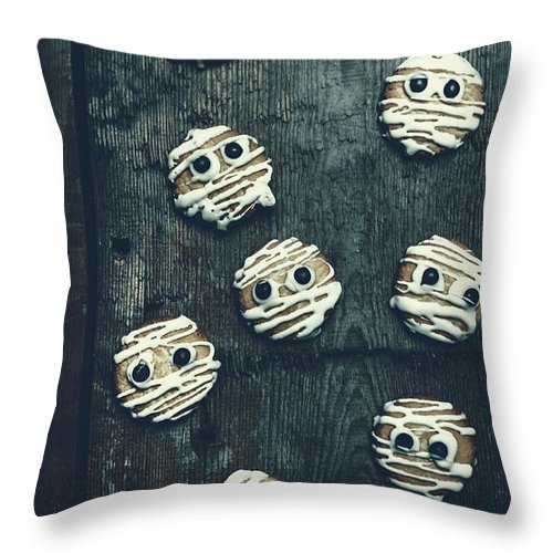 Horror Throw Pillow featuring the photograph Halloween Mummy Cookies by Jorgo Photography - Wall Art Gallery