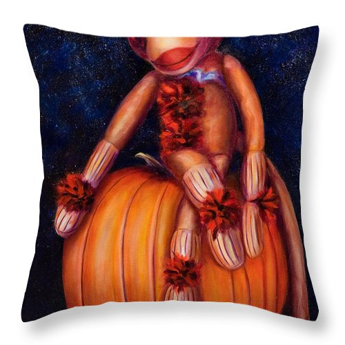 Pumpkin Throw Pillow featuring the painting Halloween by Shannon Grissom
