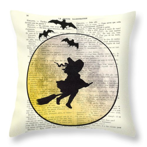 Halloween Throw Pillow featuring the digital art Witch Flying With Full Moon by Madame Memento