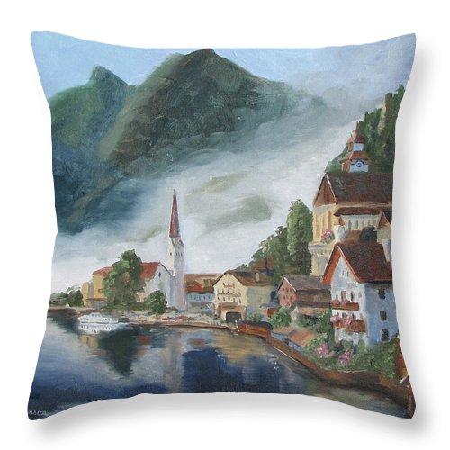 Landscape Throw Pillow featuring the painting Hallstatt Austria by Jay Johnson