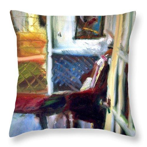 Dornberg Throw Pillow featuring the painting Hallways And Doorways by Bob Dornberg