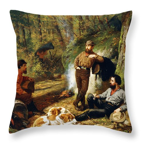 Hunt Throw Pillow featuring the painting Halt On The Portage by Arthur Fitzwilliam Tait