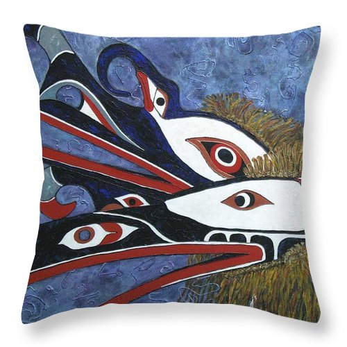 North West Native Throw Pillow featuring the painting Hamatsa Masks by Elaine Booth-Kallweit