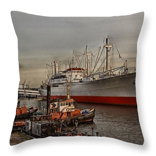 Hanseatic Throw Pillow featuring the photograph Hamburg Harbor by Joachim G Pinkawa