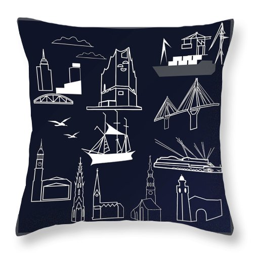 Marina Usmanskaya Throw Pillow featuring the digital art Hamburg In Miniature by Marina Usmanskaya