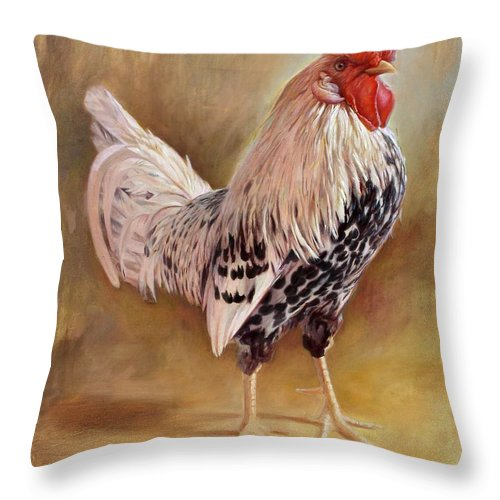 Rooster Throw Pillow featuring the painting Hamburg Rooster by Hans Droog