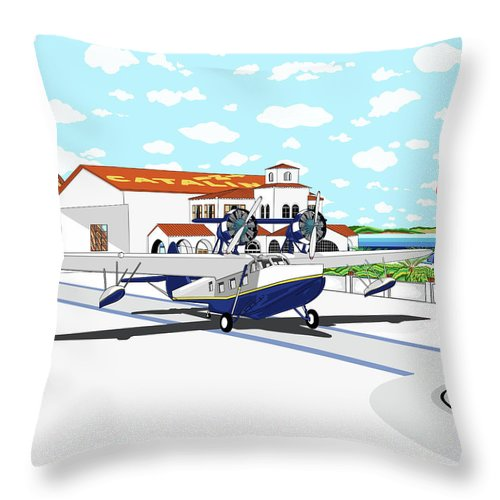 Seaplane Throw Pillow featuring the digital art Hamilton Cove by Carlos Martinez