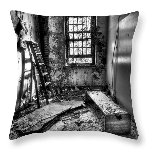 Ladder Throw Pillow featuring the photograph Hammer To Fall by Evelina Kremsdorf
