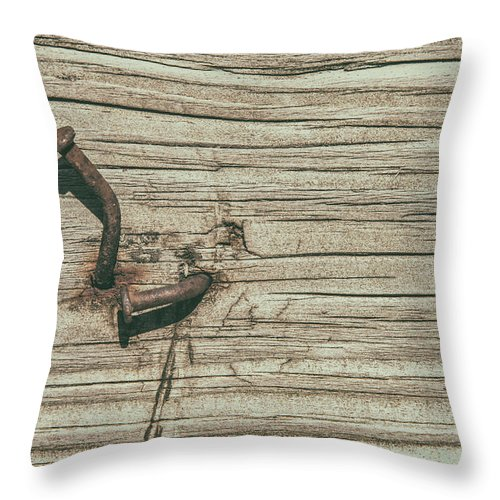 Nailed Throw Pillow featuring the photograph Hammered by Karol Livote