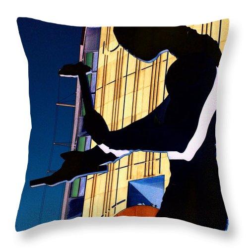 Seattle Throw Pillow featuring the digital art Hammering Man by Tim Allen