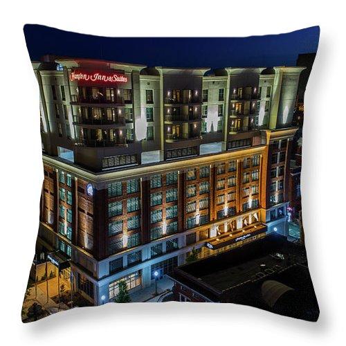 Hampton Inn Downtown Roanoke Throw Pillow featuring the photograph Hampton Inn Downtown by Star City SkyCams