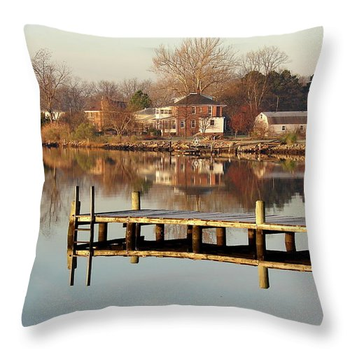 Hampton Throw Pillow featuring the photograph Hampton Virginia Sunrise by Brett Winn